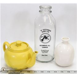 GLASS DAIRY BOTTLE WITH TEAPOT & DECORATIVE