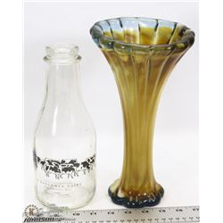 VINTAGE BLOWN ART GLASS AND GLASS DAIRY BOTTLE.