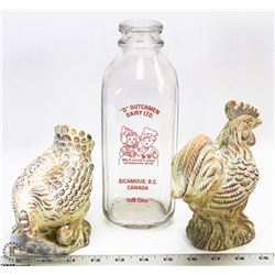GLASS DAIRY BOTTLE WITH TERRACOTTA ROOSTER & HEN