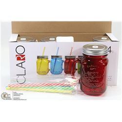 NEW 4PCS DRINKING JARS W/ LIDS & STRAWS (15oz)