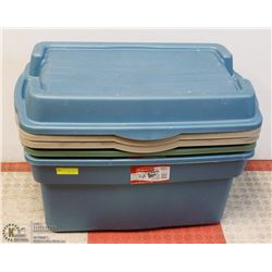 LOT OF 3 RUBBERMAID ROUGHNECK STORAGE TOTES WITH