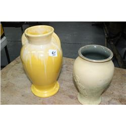 Medalta Potteries Yellow Vase & Another Vase (Medalta?)