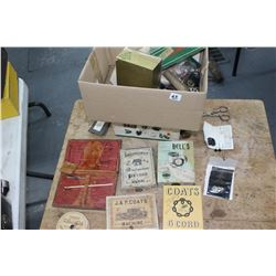 Box of Sewing Collectibles