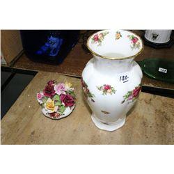 Royal Albert Vase & Porcelain Flowers
