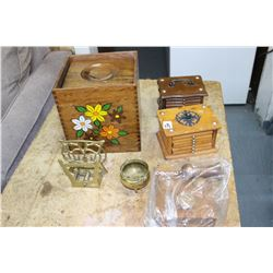 3 Sets of Wood Beverage Coasters; Wood Cannisters & 2 Brass pcs.