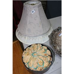 2 Lamp Shades and a Pin Cushion