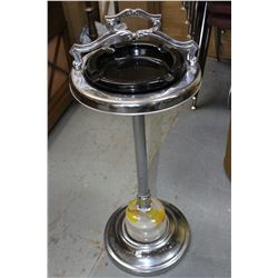 Silver Plate/Marble Ashtray Stand with Ashtray