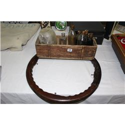 Wooden Box w/Collector Bottles and a Wooden Steering Wheel