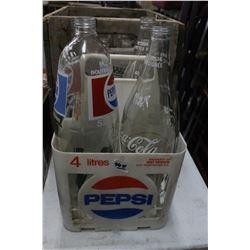 Plastic Pepsi Tote with 4 Lrg. Bottles