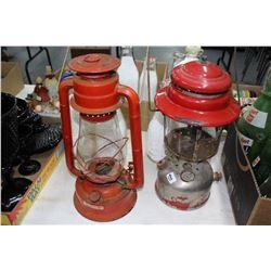 1 Coleman Red Lantern & 1 Dietz Crescent Lantern