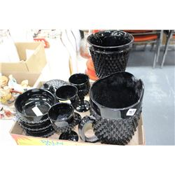 Black Pressed Glass - 9 pieces.