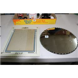 Royal Canadian Air Force Glass Picture Frame & Round Mirror