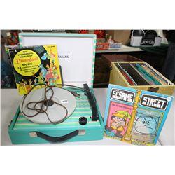 Portable Coronado Record Player with Childrens 45 RPM Records (in a box)