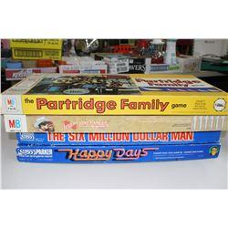 Partridge Family, Lone Ranger, Six Million Dollar Man & Happy Days Games - all w/Instructions