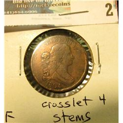 1804 U.S. Half Cent, Fine, Crosslet 4 with stems.