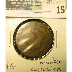 1816 U.S. Large Cent, AG, marks, corrosion.
