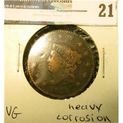 1822 U.S. Large Cent, VG, heavy corrosion.