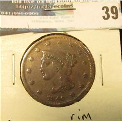 1840 U.S. Large Cent, VG, rim problems.