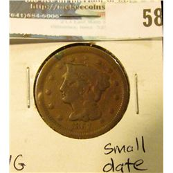 1857 U.S. Large Cent, VG, small date.