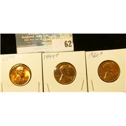 1959 P, D, & 60 D large date U.S. Lincoln Cents, Red Gem BU.