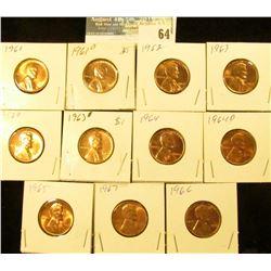 1961 P, D, 62 P, 63 P & (2) D, 64 P, D, 65 P, 66 P, & 67 P U.S. Lincoln Cents, Red Gem BU.