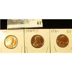 1970 P, D, & S U.S. Lincoln Cents, Red Gem BU.