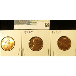 1972 P, D, & S U.S. Lincoln Cents, Red Gem BU.