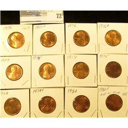 1975 P, D, 76 P, D, 77P, D, 78P, D, 79P, D, & 80P & D U.S. Lincoln Cents, Unc to Red Gem BU.