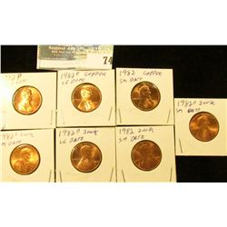 Seven-piece variety 1982 Copper and Copper-plated Zinc small and large Date Lincoln Cent Set, Red BU