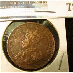 1917 Canada Large Cent, Very Fine.