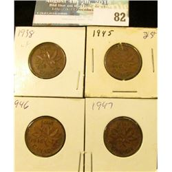 1938, 45, 46, & 47 Canada Small Cents.