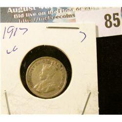 1917 Silver Canada Half Dime.
