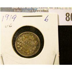 1919 Silver Canada Half Dime.