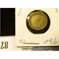 1920 Silver Canada Half Dime.