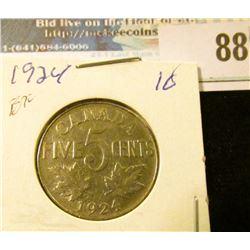 1924 Canada Nickel, slightly scarcer date.