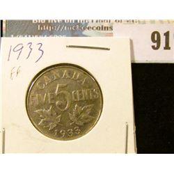 1933 Canada Nickel, slightly better grade.
