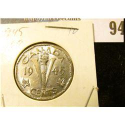 """1945 Uncirculated Canada """"V"""" World War II Nickel."""