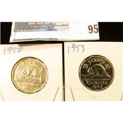 1950 EF & 1953 Gem BU Canada Nickels.