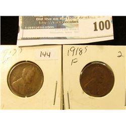 1917 S VF & 18 S Fine Lincoln Cents.