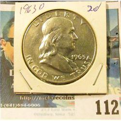 1963 D High-grade Silver Franklin Half Dollar.