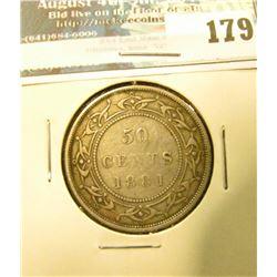 1881 Newfoundland Canada Silver Half Dollar. Fine.