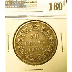 1899 narrow 9 variety Newfoundland Canada Silver Half Dollar. Fine.