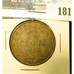 1908 Newfoundland Canada Silver Half Dollar. VF.