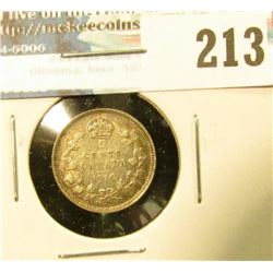 1916 Canada Five Cent Silver. EF+.
