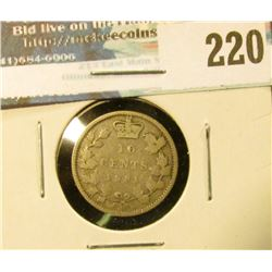 1881H Canada Silver Dime. Good.