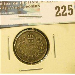 1913 Canada Silver Dime. Fine.