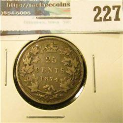1874H Canada Silver Quarter. Fine.