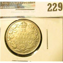 1921 Canada Silver Quarter. VG.
