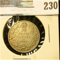 1934 Canada Silver Quarter. VG+
