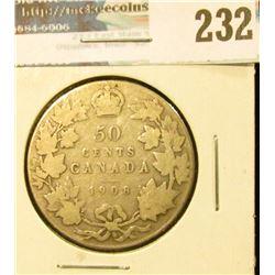 1908 Canada Silver Half-Dollar. Good.